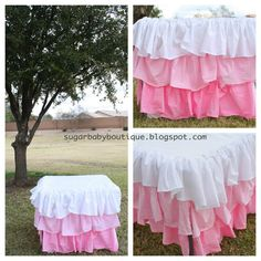 Dyed Ruffle Ombre Tablecloth: Cheap and so stylish for party decor! I need this for S 1st birthday party table.