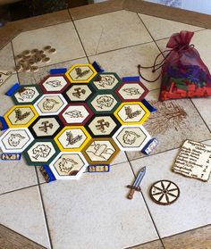 Calling all fans of the tabletop game Settlers of Catan. Did you know you can create your own custom board? One woman did, and her boyfriend uploaded the Casino Party Decorations, Casino Theme Parties, Wooden Board Games, Game Boards, Homemade Board Games, Catan Board Game, Settlers Of Catan, Modern Games, Diy Games