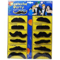 Amazon.com: Self Adhesive Set 12 Fake Mustaches Costume Party Disguise: Toys & Games