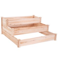 3 Tier Elevated Wooden Vegetable Garden Bed