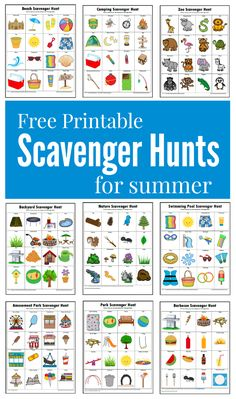 Hunts {Free Printables} These summer themed scavenger hunts will keep your kids busy and entertained this summer.These summer themed scavenger hunts will keep your kids busy and entertained this summer. Summer Scavenger Hunts, Nature Scavenger Hunts, Scavenger Hunt For Kids, Kindergarten Scavenger Hunt, Outdoor Scavenger Hunts, Summer Activities For Kids, Preschool Activities, Camping Games For Kids, Camping Bingo