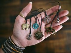 Charm Chokers Necklaces Jewellery - Bohemian Layering Vintage Boho Hippie Hipster Womens Jewelry Tumblr Tattoo Black Leather Elephant by SavannahAvril on Etsy