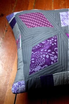 Modern Grey and Purple Quilted Pillow Cover