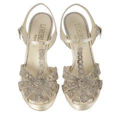 Ivory jewel #sandal with #WAROVSKY ELEMENTS