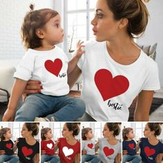 Mommy and me clothes Mother Daughter Matching family outfits T-shirt Women Kids Baby Girls soft cotton Heart print Tops Mommy And Me Shirt, Mommy And Me Outfits, My T Shirt, Kids Outfits, Matching Family T Shirts, Family Shirts, Matching Outfits, Kids Shirts, Mother Daughter Shirts