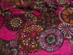 Viskose, Kreise, Pink, Ornamente, Kleiderstoff,
