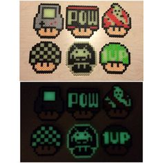 Mario mushrooms perler beads by Melty Bead Patterns, Perler Patterns, Beading Patterns, Mario Bros., Super Mario, Fuse Beads, Perler Beads, Marvel Cross Stitch, Stitch Shop