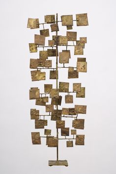 maquette for large multi-plane sculpture, brass and nickel melt-coated steel, Harry Bertoia