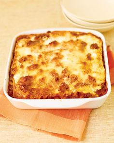 Healthier Meat Lasagna - Martha Stewart Recipes. So Yummy!!! Cooked in large lasagna pan, just doubled the recipe. Substituted red bell pepper instead of eggplant, and ground italian seasoned turkey for sirloin, and classico italian sauce for puree.