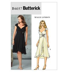 Butterick B4657 Dress with wrapped gathered front and sleeves, in two lengths (now OOP)