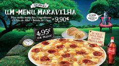 Descobre um menu que é uma Maravilha: Pizza média fina com 3 ingredientes à escolha + 2 Pães de alho simples + 1 Bebida de 1Lt por apenas 9,90€