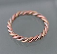Tri Color 14k SOLID Gold Thick Twisted Rope by tinysparklestudio