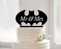 Mr&mrs batman cake topper,custom batman cake topper, funny cake topper for…