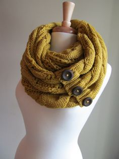 Infinity Circle Loop Scarf Braided Cable Knit Neckwarmer Mustard Yellow Scarves with Buttons Women Girls Accessories