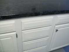 """""""I painted my Counter Tops with a Faux Granite paint by Giani"""" This is a blog I found and I might actually try this one out in our new place."""