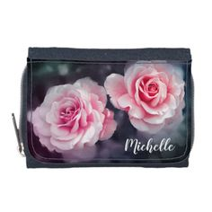 Custom Pink Roses Floral Photo Wallets - girly gifts girls gift ideas unique special