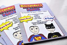 Here are my superhero invitation designs. Custom designed. To get yours made up contact info@honeyapple.co.uk