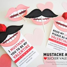 Mustache and Lip Sucker Valentines on www.iheartnaptime.com