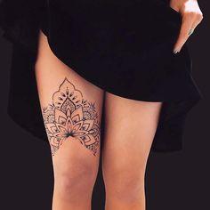 Tattoos Mandalas, Half Mandala Tattoo, Mandala Tattoo Sleeve, Sternum Tattoo, Lace Tattoo, Sleeve Tattoos, Lace Thigh Tattoos, Sexy Tattoos For Women, Leg Tattoos Women