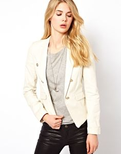 Image 1 ofMango Linen Button Detail Jacket