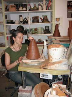 Crista Assad in her studio located in Emeryville, CA. Assad was featured in the June/July/August 2007 issue of Ceramics Monthly as part of the Working Potters focus.