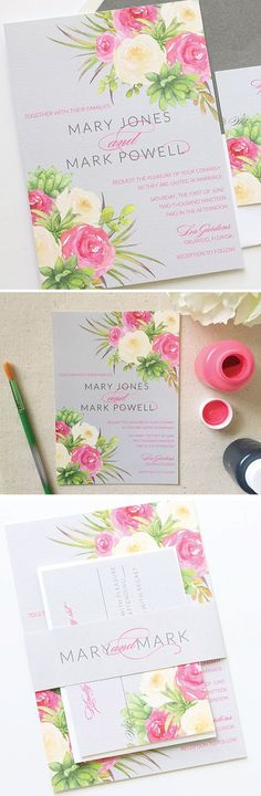 This watercolor invitation suite is perfect for a garden wedding in the spring or summer! Blush Paperie