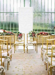 Woodsy wedding inspiration in a glasshouse #aisle