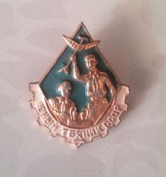 USSR Old Soviet badge Young technician badge Pioneer movement Very Nice Price!!!