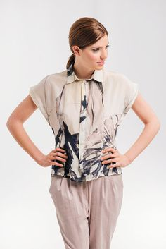 SALE 25 OFF Floral Summer  Top  Printed Buttoned by NoteFashion, $88.00