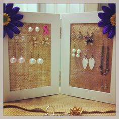 DIY Earring Holder...minus the flowers (not my style).  Perfect for holding some of my favorites go to pieces on my vanity.
