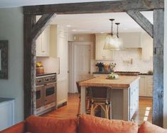 Maybe there is a way to incorporate reclaimed barn beams into the house somewhere? Kitchen Redo, Rustic Kitchen, Kitchen Remodel, Kitchen Island, Kitchen Entryway Ideas, Kitchen Nook, Kitchen Ideas, Remodeling Mobile Homes, Home Remodeling