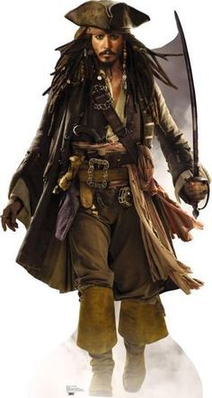 Captain Jack Sparrow - Cardboard Cutout - Johnny Depp - Pirates of the caribbean Approx tall cutout. Johnny Depp stars as Captain Jack Sparrow, one of t Captain Jack Sparrow, Jake Sparrow, Costume Jack Sparrow, Jack Sparrow Cosplay, Jack Sparrow Wallpaper, Splash Art, John Depp, Pirate Art, Pirate Life
