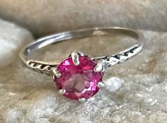 Antique Edwardian 1 CT Pink Topaz Sterling Silver Filigree Love Arrow Engagement Ring Size 6.25 by AdornedInHistory on Etsy