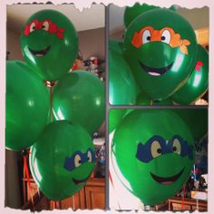 TMNT birthday balloons. Made the masks and mouths on Adobe Illustrator then printed them out onto sticker paper.