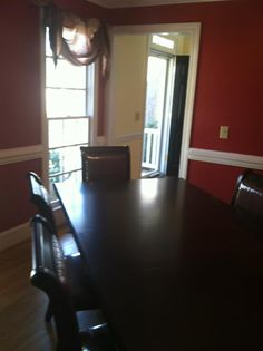 Red dining room. <3 Dining Room Walls, Kitchen Dining, My House, New Homes, Room Ideas, Decorating, Math, Red, Decor
