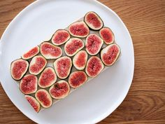 Raw Vanilla Coconut Fig Slice Recipe Desserts with walnuts, almonds, dry coconut, flaxseed, dried fig, medjool date, water, cinnamon, cashew nuts, coconut milk, dry coconut, maple syrup, vanilla bean paste, figs