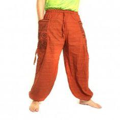 pantalones harén presión étnico, con el lado grandes bolsas de color naranja