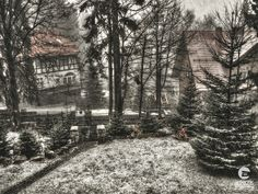 Early winter in Poland, a photo of the first snow taken from a hotel window in the mountain town of Karpacz. Winter Scenery, First Snow, Beautiful Places In The World, Landscape Photos, Poland, Countryside, Landscapes, Mountain, Window