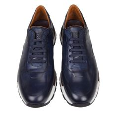 OFFICIAL WEBSITE Shop the Davio Hand-Burnished Leather Sneaker - Navy Leather now. Free shipping available. All Nike Shoes, Classic Sneakers, Leather Sneakers, Italian Leather, Calf Leather, Sale Items, Calves, Oxford Shoes, Dress Shoes