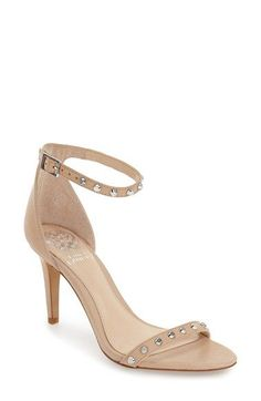 Free shipping and returns on Vince Camuto 'Cassandy' Studded Sandal (Women) at Nordstrom.com. Orderly rows of flat-head studs adorn the slender toe and ankle straps of this daring sandal on a wrapped stiletto.