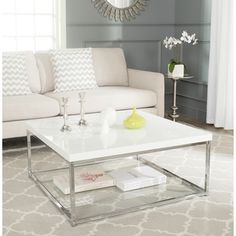 Make your living space shine with the Safavieh Malone Chrome High Gloss Coffee Table . The frame of this contemporary coffee table is fabricated out. Modern Square Coffee Table, Contemporary Coffee Table, Cool Coffee Tables, Contemporary Design, Modern Design, Silver Coffee Table, Contemporary Furniture, Table Inox, Coffee Table Walmart