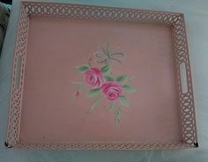Shabby Chic Blush Beauty Pink Metal Floral Vanity Tray