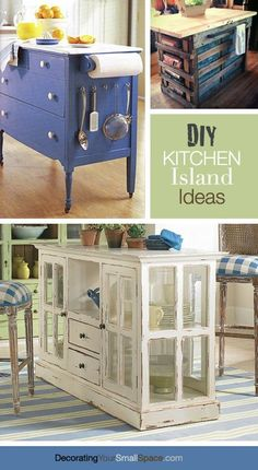 DIY Kitchen Island Ideas! Love the one at the bottom. But no chairs and maybe on wheels so it can be moved if needed.
