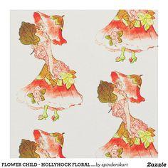 FLOWER CHILD - HOLLYHOCK FLORAL FAIRY PATTERN FABRIC