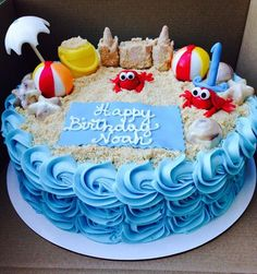 layer beach cakes - Google Search 1st Birthday Parties, Birthday Cakes, Beach Cakes, Beach Themes, Cake Decorating, Decorating Ideas, Party Ideas, Desserts, Recipes