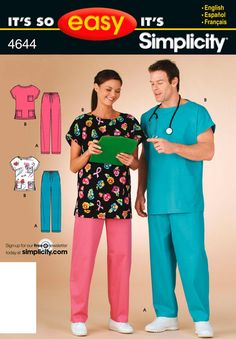 Simplicity It's So Easy 4644: misses', men's or teens' scrub top and pants