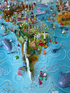 Sara Drake - South America detail from 3d World map. Maps are made from mixed media, including papier mache, balsa wood, acrylic paint, beads and wire. All details are hand made and to commission. Each map is personalised with the details of the client's own travels.