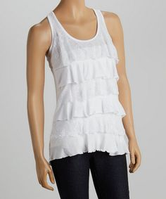 Another great find on White Lace Ruffle Racerback Tank by Zenana Lace Ruffle, Lace Dress, Affordable Plus Size Clothing, Perfect Bride, Lace Tank, Bohemian Style, Boho, Racerback Tank, White Lace