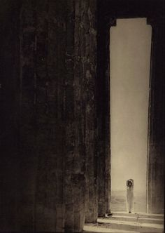"""Edward Steichen     Dancer Isadora Duncan at the Portal of the Parthenon, Athens,Greece     1921  """"Once you really commence to see things, then you really commence to feel things."""" Edward Steichen"""