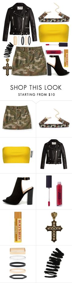 """""""Camo Queen"""" by tatianabilly ❤ liked on Polyvore featuring Aéropostale, Moschino, Acne Studios, LULUS, Lipstick Queen, Accessorize and Bobbi Brown Cosmetics"""